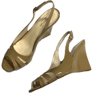 Kate Spade Patent Leather Heels Nude Wedge 7
